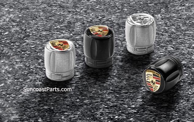 porsche valve stem caps premium emblem gold tpm