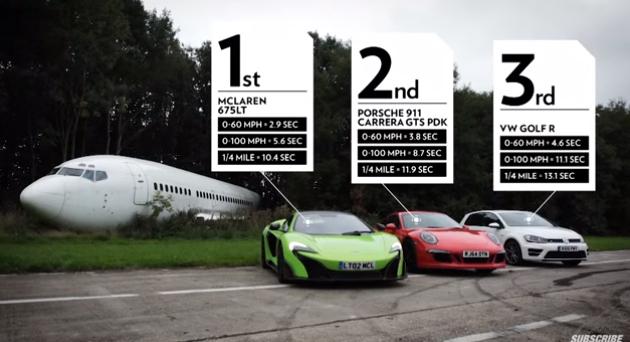 topgear maclaren porsche 911 GTS VW golf race movie トップギア 加速 動画 ゴルフ ポルシェ マクラーレン