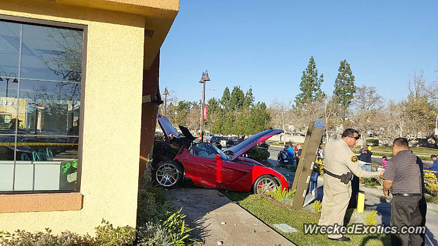 A Dodge Viper crashed into a Taco Bell in Laguna Niguel.on Wednesday,