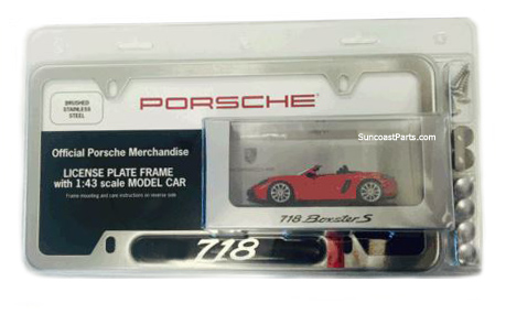 porsche 718 boxster cayman gift set plate frame scale model