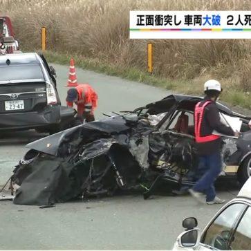 ポルシェ911が熊本のやまなみハイウェイにて事故