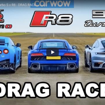日産GT-R、アウディR8、ポルシェ911ターボのドラッグレース動画