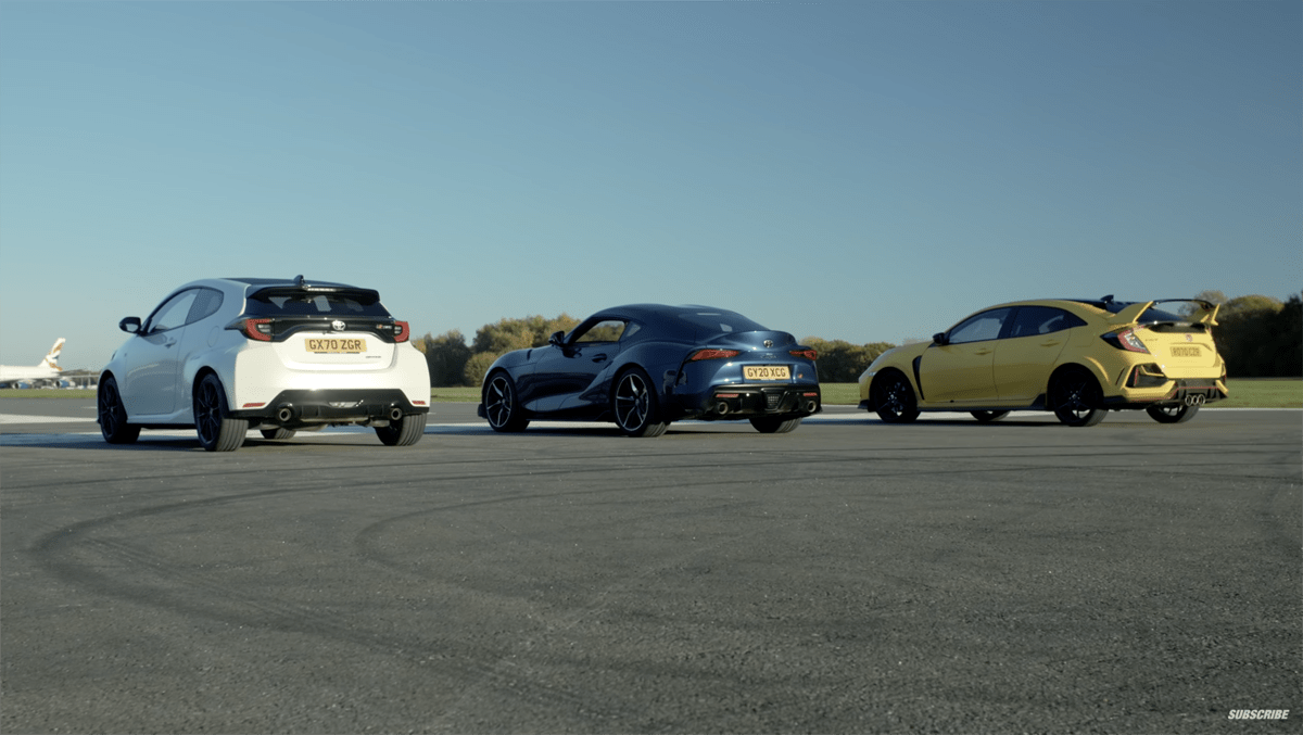 GRスープラ、GRヤリス、ホンダ・シビック・タイプR。日本が誇るスポーツカーを直線で競わせてみたらこうなった