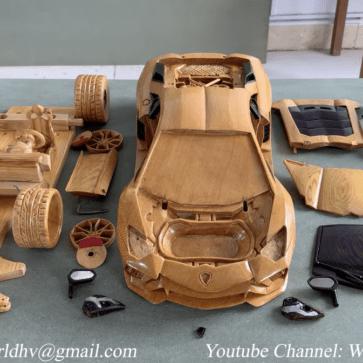 木の塊からランボルギーニ・アヴェンタドールを作り出す凄腕ユーチューバー