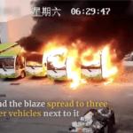 EVは燃えだすと手がつけられない!中国にて、駐車中の電動バスが突如発火、次々4台が燃え尽きる