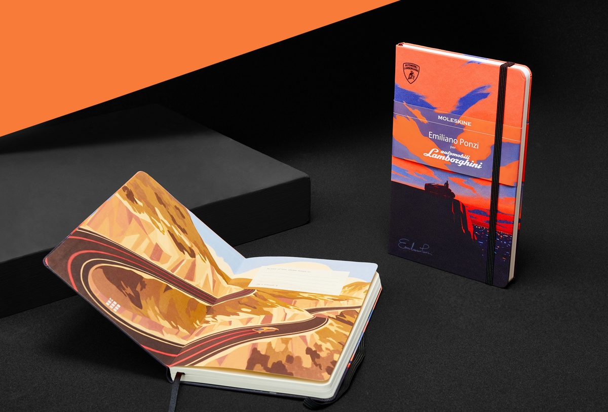 ランボルギーニがモレスキンとコラボ!著名イラストレーターを起用し「ウラカンの旅」を表現したグラフィックが採用