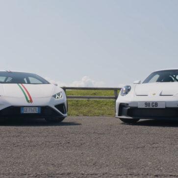 ランボルギーニ・ウラカンEVO RWDとポルシェ911GT3との異色対決!911GT3のほうがウラカンEVO RWDよりも足回りが硬いようだ
