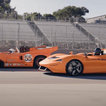 マクラーレンがエルヴァのルーツに通じるレーシングカー、M8Dそしてエルヴァがともに走行する動画を公開。意外とM8Dはデカかった