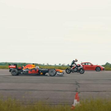 公道では無敵のポルシェ911ターボS!レッドブルF1マシン(RB7)、スーパーバイク(BMW M1000RR)と加速競争してみたらこうなった