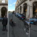 パリの高級ホテル前にてブガッティ・ディーヴォが「バックしすぎて」後ろのベンツにぶつかる!修理代金はどれくらいなんだろうな・・・